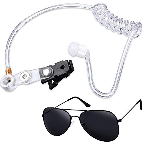 Gejoy 2 Pieces Playing Cosplay Toy Includes Earpiece Earplugs Acoustic Tube Headset and Sunglasses (Black Glasses Frame)