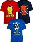 Marvel Pack de 3 camisetas para niños Vengadores – Iron Man, Capitán América, Spider-Man Big Face Superheroes (niños pequeños/grandes) - - 4 años