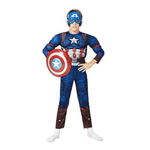 Petainer Déguisement Captain Halloween Noel Enfant Superhéros Deluxe Cosplay Costume avec Masque et Bouclier (104-120)