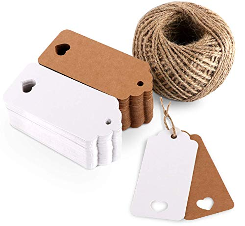 Tags, Kraft Paper Tags Labels,100 PCS Brown Gift Tags and 100 PCS White Paper Tags, 4cm x 9cm Lovely Hollow Heart Wedding Favor Name Tags Card with 60 Meter Jute Twine String for Luggage and DIY Tags