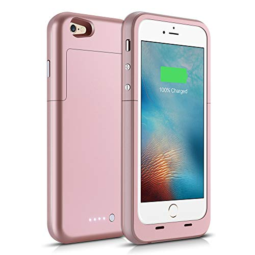 Battery Case for iPhone 6/6S, 3800mAh Protective Charging Case for iPhone 6S, 6 (4.7 inch) Rechargeable Extended Battery Charger Case (Rose Gold)