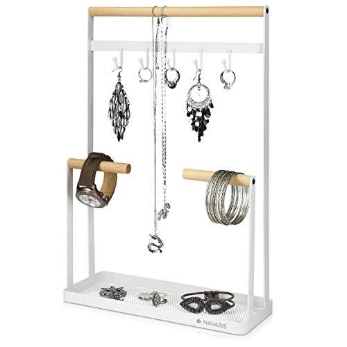 Navaris Organizador de joyas con barras y ganchos - Soporte para collares de metal con plato para guardar pendientes anillos pulseras - blanco