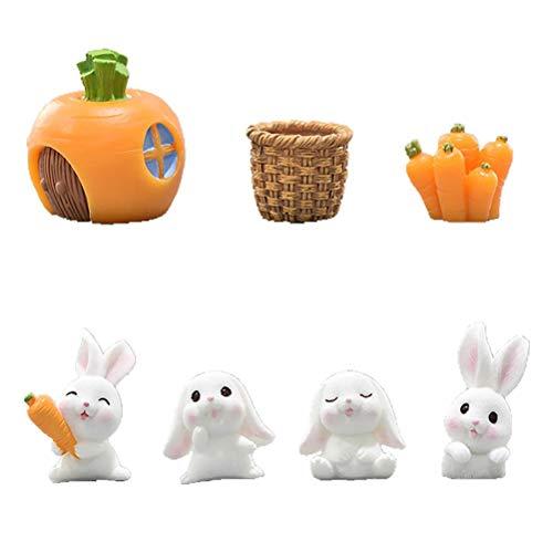 Vcedas Easter Rabbit Miniature Resin Bunny Figurine Statue Animal Sculpture Miniature Bunny Models Animal Figurine Garden Miniature Ornament Kits Crafts Ornament 7PCS