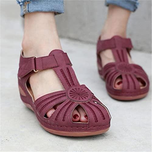 KovBexJa 2021 Sandalias De Verano De Moda De Talla Grande para Mujer Zapatos De Playa para Mujer Zapatos De Cuña De Tacón Alto Cómodas Sandalias De Plataforma Ligera Vino Tinto