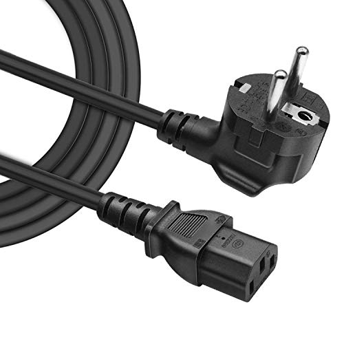 BERLS (Certificación VDE) 1.5Metro Cable de Alimentacion PC, Cable Corriente C13 para Monitores LG, Samsung Television, Computadora, Radio Cassette, Olla Arrocera, Proyector, Tetera