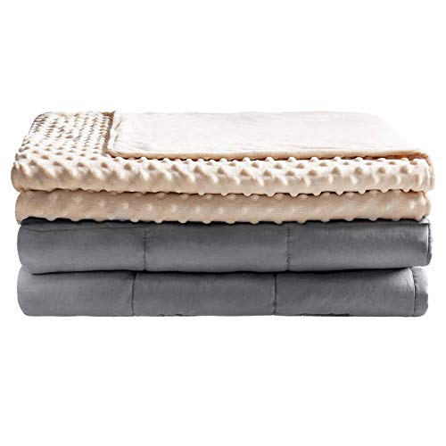 Anjee Premium Weighted Blanket 20 lbs for Better Sleeping, Heavy Blankets with Minky Cover & Premium Glass Beads, Ivory, 60 x 80 Inches