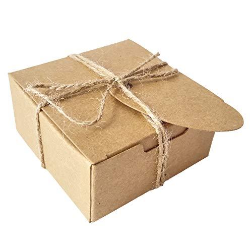 50 Piezas Cuadrado Regalos Envase Kraft Caja Papel