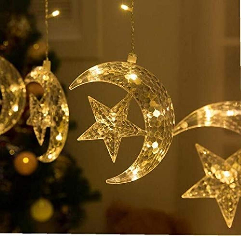 TianranRT LED Stern Vorhang Lichter Fenster Vorhang Schnur Licht Mond Stern Schnur Licht (warmwei) (Farbe) (Farbe   Gelb)