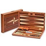 Yellow Mountain Imports Backgammon-Spiel-Set mit Holzintarsien - Sentinel - 28 Zentimeter Spielsteine und Zubehör aus Holz