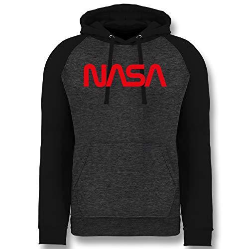 Nerd Geschenke - NASA Worm Motiv - S - Anthrazit meliert/Schwarz - Kapuzenpullover Jungen 164 - JH009 - Baseball Hoodie
