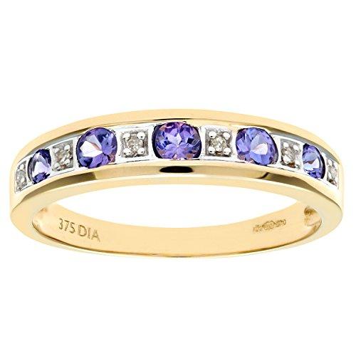 Naava Women's 9 ct Yellow Gold Tanzanite and Diamond Eternity Ring