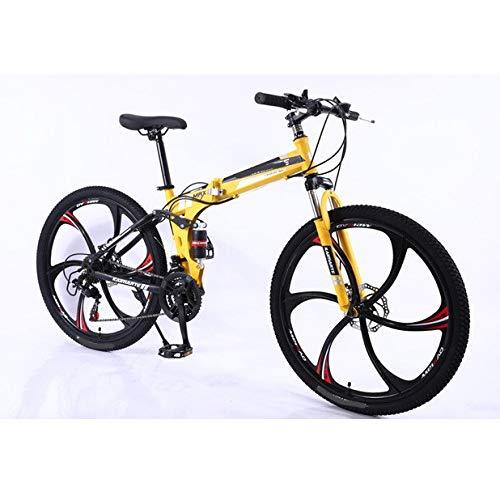 XXY 21 Geschwindigkeits Mountain Bike Carbon Steel Faltrad Doppelscheibenbremse Erwachsene Fahrrad 3/6 und 10 Messer Rad Studenten Bike (Color : 6 Knife Wheel Yellow, Size : 26 inch)