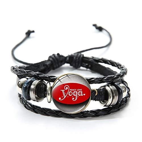 I Love Yoga Personalidad Impreso Crystal Charm Pulsera De Moda Tejida Con Cuentas Negro Pulsera De Cuero Para Yoga Amante Estilo 5