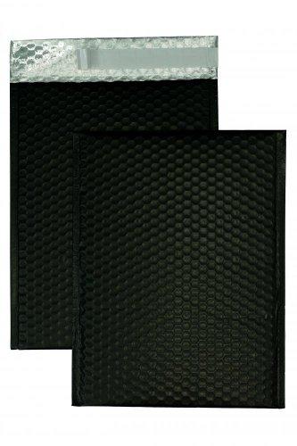 10 Stück, Farbige Luftpolstertaschen, 200 x 250 mm, Haftklebung mit Abziehstreifen, Gerade Klappe, 180 my Metallic Bubble Bags - Matt, Ohne Fenster, Schwarz, Blanke Briefhüllen