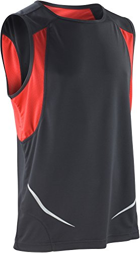 Spiro Chaleco Deportivo para Hombre, Hombre Mujer, Chaqueta, S186XBKRDL, Negro/Rojo, L