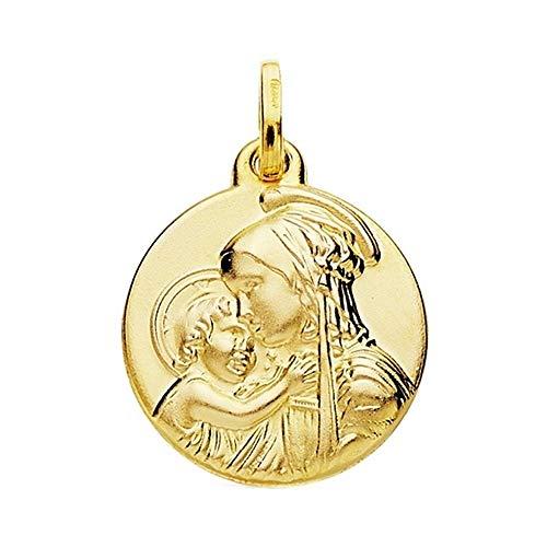 Medalla Oro 18K Vírgen Divina Ternura 18mm. [Ab3792]