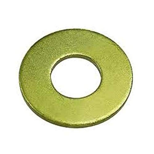 """Steel Flat Washer, Zinc Yellow Chromate Plated Finish, Grade 8, ASME B18.22.1, 1/2"""" Screw Size, 17/32"""" ID, 1-1/16"""" OD, 0.135"""" Thick (Pack of 50)"""