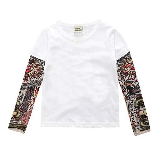 Borlai Camiseta de manga larga para niños con estampado de tatuajes y camisetas de Halloween de 1 a 7 años