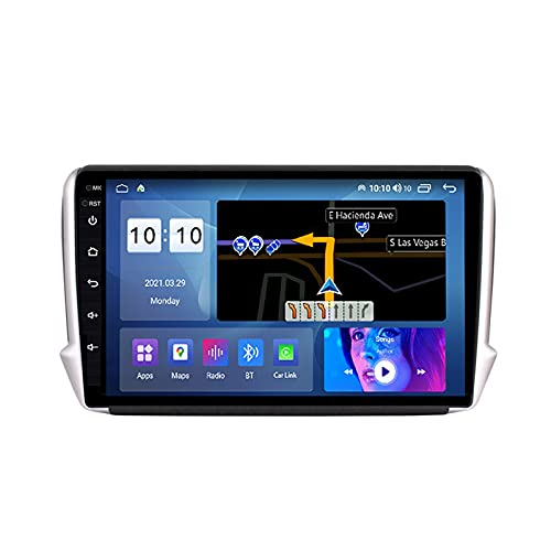 Radio GPS Coche con Cámara De Visión Trasera Car Stereo para Peugeot 2008 2014-2018 Android 10.0 Autoradio Apoyo Mirror Link Carplay Control del Volante FM Receptor DSP,M600s