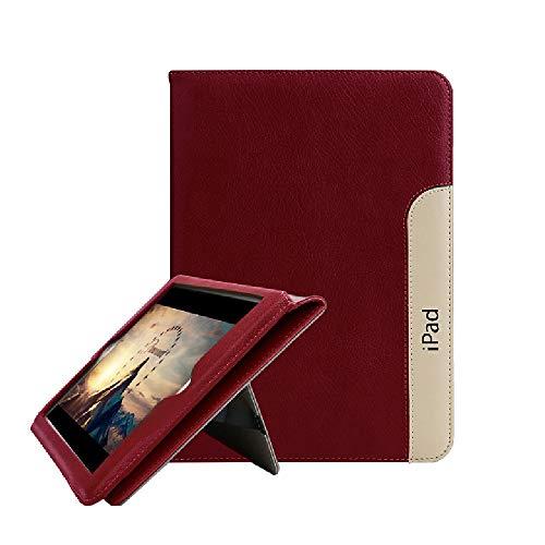 FAN SONG Custodia per iPad Air, Vera Pelle Trama Ultra Sottile Smart Cover [Stare in Piedi, Auto Sveglia/Sonno] per iPad 9.7 Pollici 5a/6a Generazione 2018/2017 e iPad Pro9.7 2016 Cover, Vino Rosso