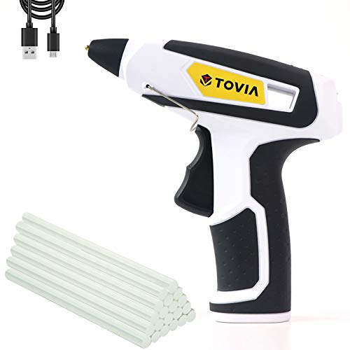 T TOVIA Cordless Hot Glue Gun Rechargeable USB, Wireless Lithium Ion Battery Operated Hot Melt Glue Gun with 20pcs Glue Sticks (0.27