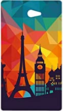 Casotec Colored Paris Design Hard Back Case Cover for Sony Xperia M2
