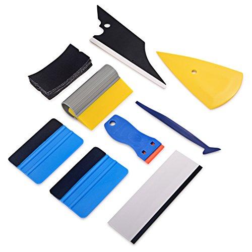 Winjun Autofolien Set Fenster Folierung Vinyl Wraps Werkzeug mit Micro Rakel Wasserabzieher Folienrakel Glasschaber Flächenspachtel Filzrakel mit 10 Stück Rakelfilz