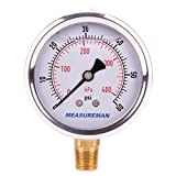 Measureman 2-1/2' Dial Size, Liquid Filled Pressure Gauge, 0-60psi/kpa, 304 Stainless Steel Case, 1/4'NPT Lower Mount