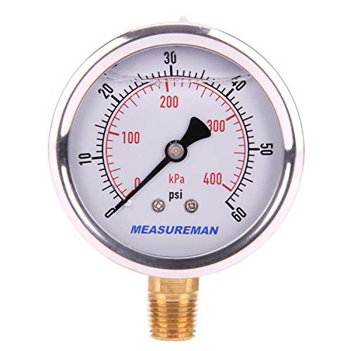 Measureman 21/2quot Dial Size Liquid Filled Pressure Gauge 060psi/kpa 304 Stainless Steel Case 1/4quotNPT Lower Mount