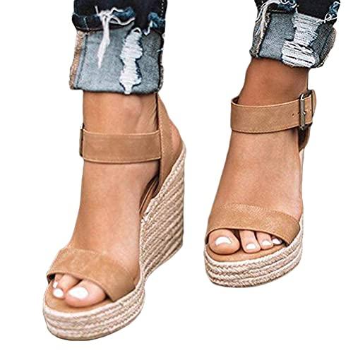 Minetom Damen Sandalen Frühling Sommer Frauen Offene Rom Schuhe Plattform Freizeitschuhe Keilabsatz Sandalen Sommerschuhe C Khaki 34 EU