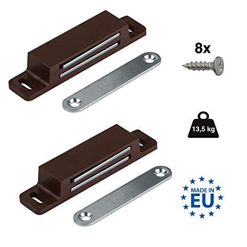 LouMaxx XXL Magnetschnäpper – Haltekraft 13kg – 2er Set in braun Magnetverschluss – Magnetschloss – Türmagnet – Möbelmagnet – Magnet Schranktür – Magnet-Türschließer – Balkontürschnapper
