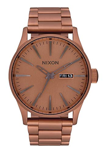 NIXON Sentry SS A356 - Matte Copper/Gunmetal - 100m Water Resistant Men's Analog Classic Watch (42mm Watch Face, 23mm-20mm Stainless Steel Band)