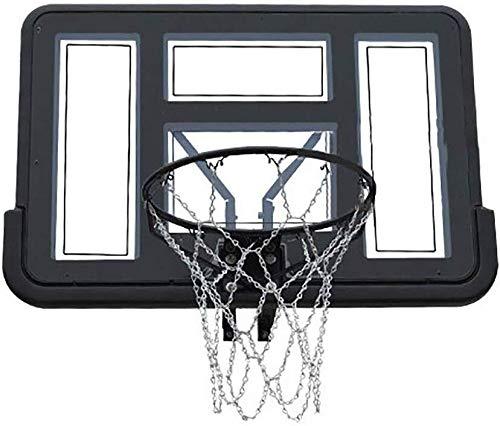 Outdoor basketbalring Aan de muur bevestigde Basketbal Hoop met ijzeren ketting Net, Binnen/Buiten Doel van het basketbal for peuter volwassen Kids, Black Verstelbare basketbal stand