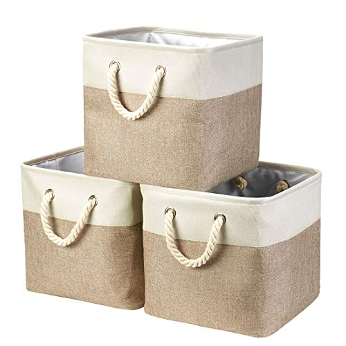 Genrics i BKGOO 3Pack Large Foldable Storage Bins,Collapsible Sturdy Cationic Fabric Organizing Storage Basket Cube with Cotton Handles for Home Office Shelf Clothes Toys White-Khaki 13×13×13