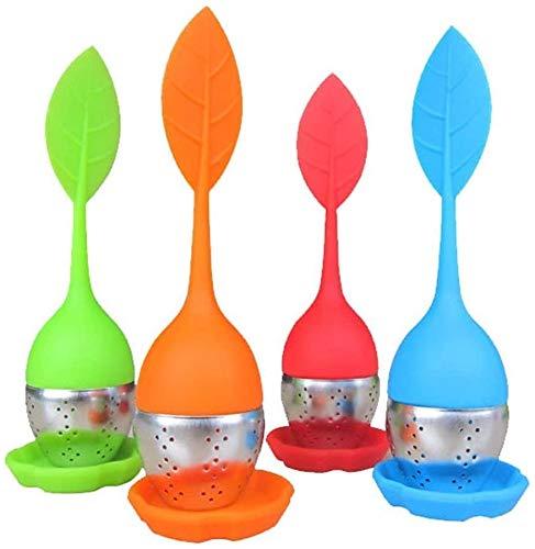PUBAMALL Infusor de té - Bandeja de goteo de acero inoxidable con mango de silicona, para tazas de té, tazas y teteras de grano de hojas sueltas (Un juego de 4 paquetes)