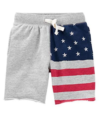 Osh Kosh Boys' Kids Knit Shorts, Gray Flag, 7