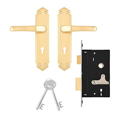 Godrej Decor 6 Levers Door Handle with Lock Set Brass