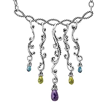 Carolyn Pollack Sterling Silver Green Peridot Purple Amethyst and Blue Topaz Gemstone Dangle Necklace 17 to 20 Inch