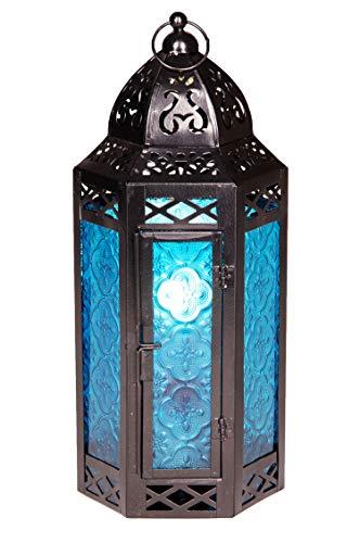 Orientalische Laterne aus Metall & Glas Liyana 30cm | orientalisches Windlicht | Marokkanische Glaslaterne für innen | Marokkanisches Gartenwindlicht für draußen als Gartenlaterne (Blau)