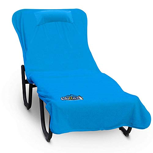 Chillax Beach Chair Pool Towels - A Must Have on a Cruise Ship for Men and Women. Towel Accessories Include Pillow and Side Pockets. No Clips Needed. Lounge Chaise Cover Great for Sunbathing at Hotel