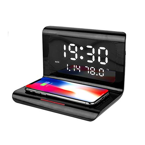 YOUKUKE Wecker Digital mit Qi Ladestation, 10W Wireless Ladegerät mit Wecker, kompatibel für Huawei Mate P30 Pro/20 Pro, Galaxy S20/S10/S9/S8, iPhone 11 Pro/XS/XS Max/8 Plus, Schwarz