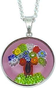 Colgante Millefiori de cristal de Murano, colgante de árbol de la vida, 2,1 cm de diámetro, incluye caja de regalo y certificado
