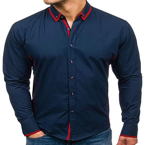 Camisas para Hombre Otoo e Invierno Clsico Color de Contraste Cuello Doble Casual Camisa Delgada de Manga Larga Camisa Simple para Todos los das 3XL