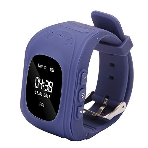 LVYE1 MRMF Enfants Smartwatch GPS Tracker - Poignet Montre Garçon Fille avec Anti-Perdu Regarder SOS Appel Chat Vocal Podomètre Réveil GPS Locator Téléphone Cadeaux Compatible avec iOS Android,Bleu