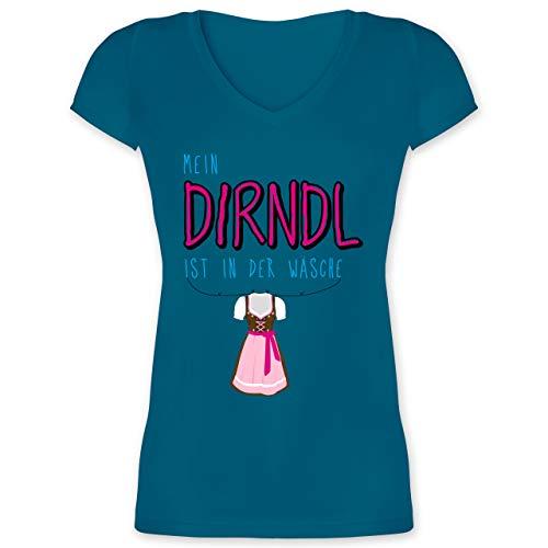 Oktoberfest & Wiesn Damen - Mein Dirndl ist in der Wäsche - M - Türkis - Shirts mit Aufdruck Damen - XO1525 - Damen T-Shirt mit V-Ausschnitt