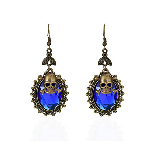 Vibrant Royal Blue Crystal Drop Earrings with Antiqued Gold Bezel and Skull Charm