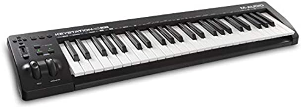 M-Audio Keystation 49 MK3   Compact Semi Weighted 49 Key MIDI Keyboard Controller with Assignable Controls, Pitch / Modulation Wheels and Software Production Suite Included USB Powered