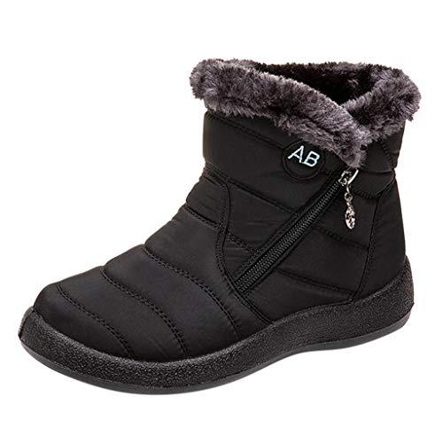 Brillanto Botas Mujer Invierno de Forradas Botines Mujer con Cremallera Botas de Nieve Mujer Zapatos Mujer Tacon Medio 2.5 cm Tallas 35-43