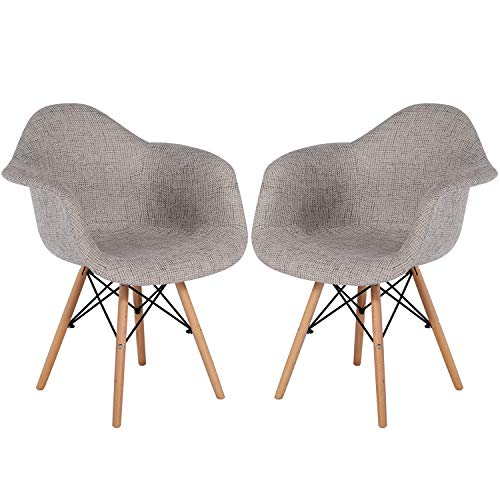 VECELO Modern Style Accent  Dining Chairs, Fabric Upholstered Seat Armchairs for Home Office Study Living Room Vanity Bedroom,Set of 2, Linen Basin, Gray