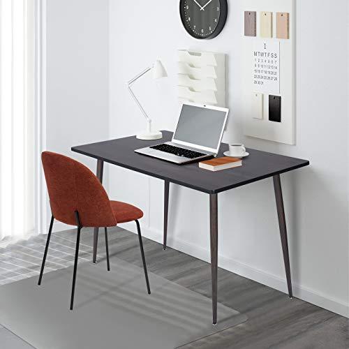 FurnitureR Mesa de comedor industrial marrón rectangular de mediados de siglo vintage sala de estar mesa con patas de metal con 4-6 personas, fácil montaje 120 * 70 * 75.2 cm Escritorio de oficina en casa de gran espacio (sin silla)